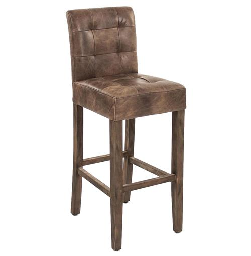 Sigmund Rustic Lodge Tufted Brown Leather Bar Stool | Kathy Kuo Home
