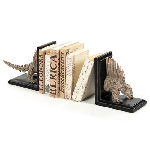 Fossil Skeleton Replica Dimetrodon Dinosaur Bookends | Kathy Kuo Home