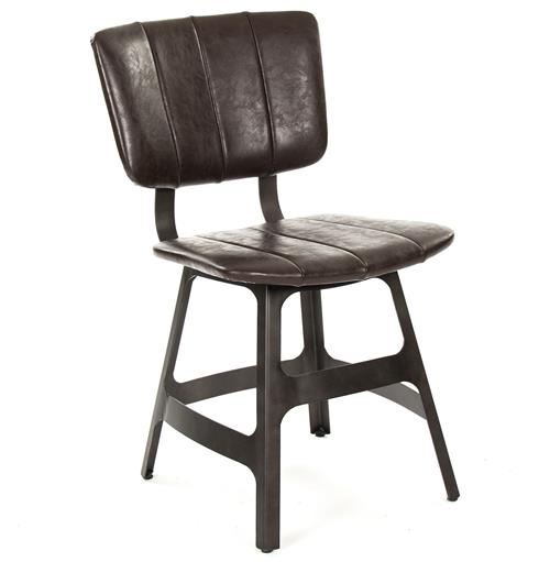 Robertson Rustic Industrial Espresso Brown Leather Iron Dining Side Chair | Kathy Kuo Home