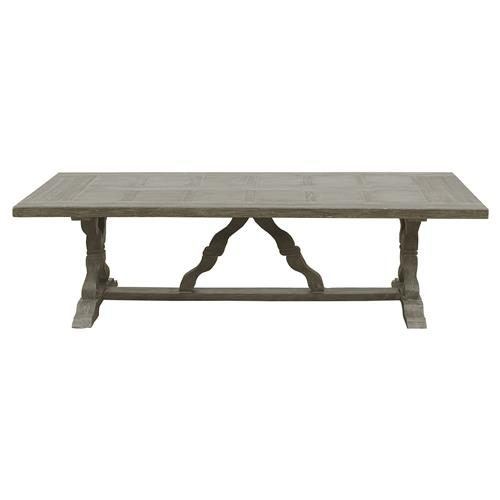 Linet French Country Grey Fiberglass Outdoor Rectangular Dining Table | Kathy Kuo Home