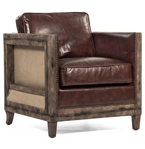 Beck Industrial Rustic Lodge Masculine Square Frame Brown Leather Club Chair | Kathy Kuo Home