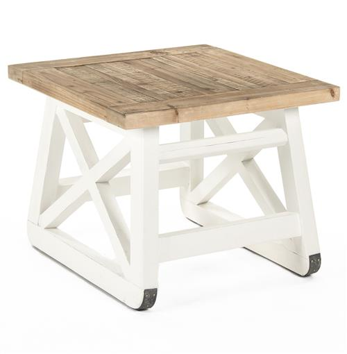 Mirabel Coastal Beach Rustic White Reclaimed Wood X Base Side End Table | Kathy Kuo Home