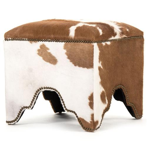 Dunia Hollywood Regency Modern Rustic Cow Hide Square Stool Ottoman | Kathy Kuo Home