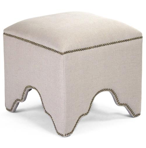 Dunia Hollywood Regency Modern Natural Linen Square Stool Ottoman | Kathy Kuo Home