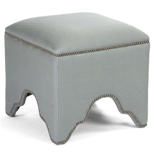 Dunia Hollywood Regency Modern Sage Green Square Stool Ottoman | Kathy Kuo Home