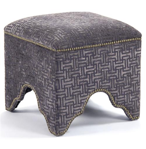 Dunia Hollywood Regency Modern Purple Grid Velvet Square Stool Ottoman | Kathy Kuo Home