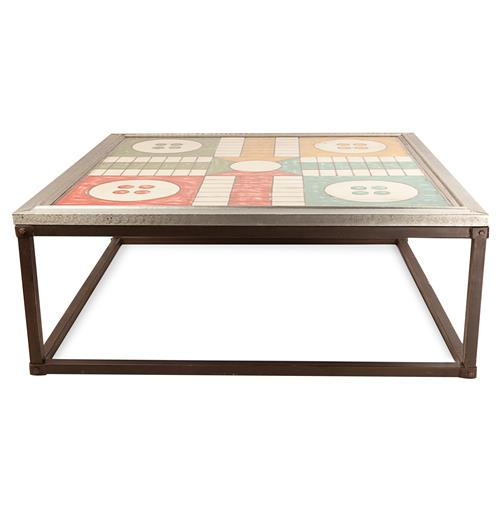 Rollins Industrial Loft Bronze Iron Coffee Table: Ludo Board Game Top Industrial Loft Iron Coffee Table