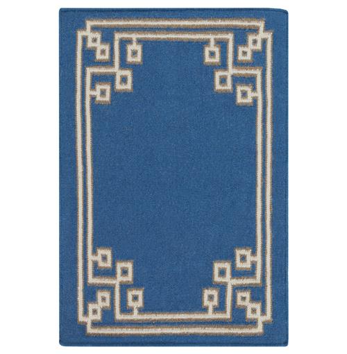 Lockhart Hollywood Regency Cobalt Blue Hand Woven Wool Rug - 2x3 | Kathy Kuo Home