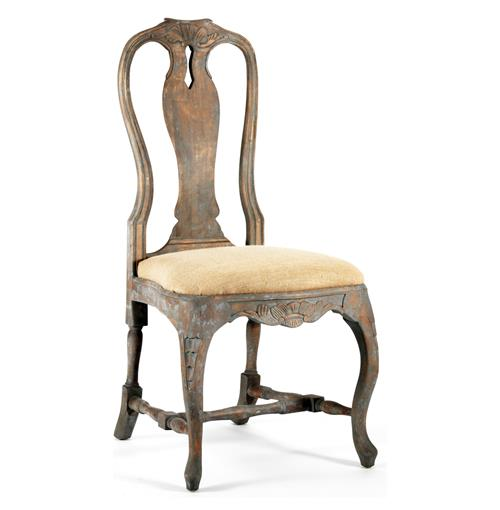 Antique Verdigris French Provence Hemp Dining Chair | Kathy Kuo Home