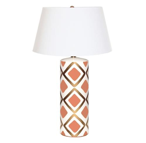 Barrett Hand Painted Diamond Gold Salmon Table Lamp | Kathy Kuo Home
