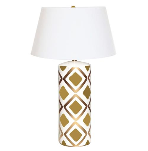Barrett Hand Painted Diamond Gold Brown Table Lamp | Kathy Kuo Home
