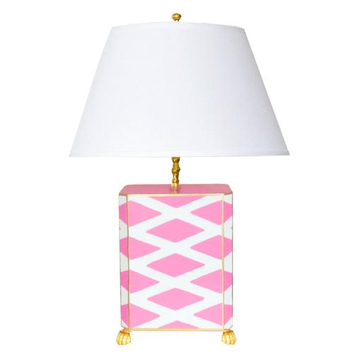Agar Hand Painted Diamond Gold Pink Table Lamp | Kathy Kuo Home