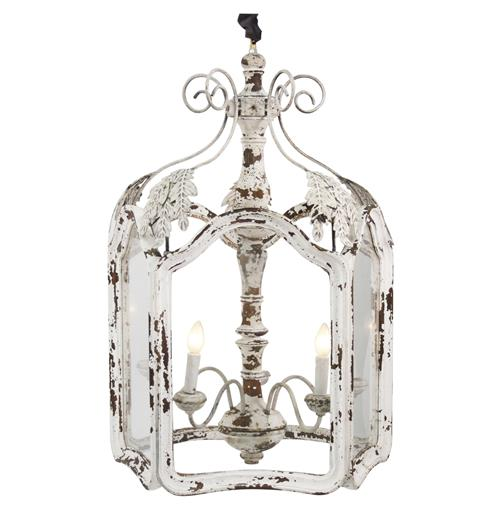 Amelie White Wash Shabby Chic Country Lantern Pendant | Kathy Kuo Home