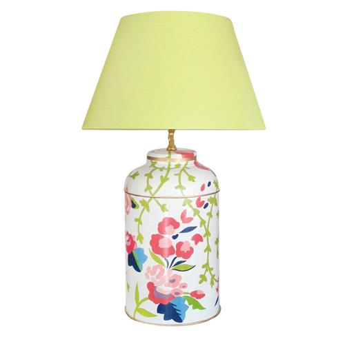 Giardino Hand Painted Floral Chintz Pink Green Table Lamp | Kathy Kuo Home