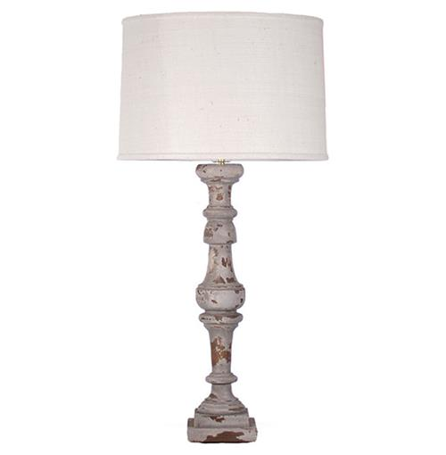 Agatha French Country Wood Linen Shade Lamp | Kathy Kuo Home