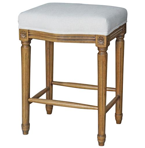 French Kitchen Stools: Agnes French Country White Linen Carved Oak Counter Stool