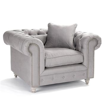 Alaine English Rolled Arm Gray Linen Tufted Club Chair