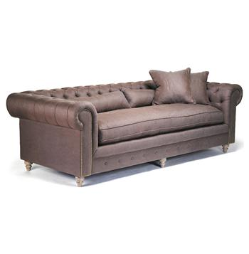 Alaine French Country Brown Chesterfield Nail Head Sofa