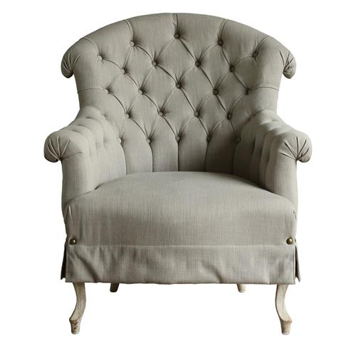 Amelie Rose French Country Tufted Curved Back Bergere Arm Chair