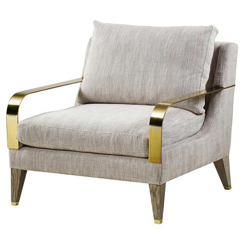Andrew Martin Bartholomew Modern Classic Brass Arm Grey Living Room Chair
