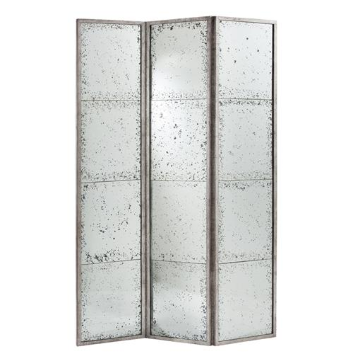 Annabelle Antiqued Hollywood Regency Silver Mirrored Room Screen