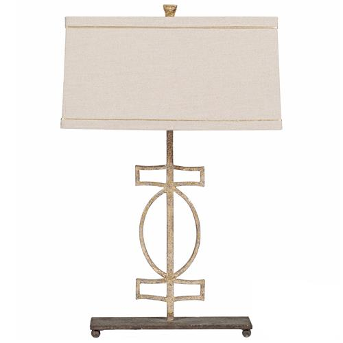Annette Antique Gold Geometric Iron Table Lamp | Kathy Kuo Home