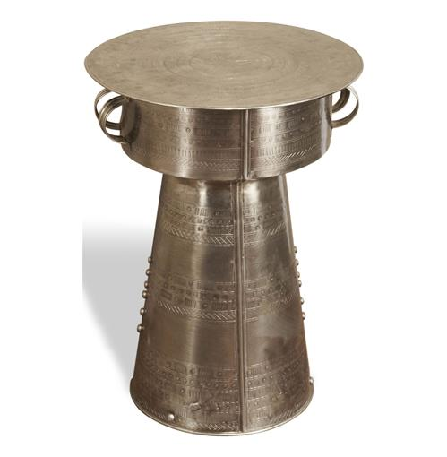 Antimo Hammered Iron Small Industrial Drum Table