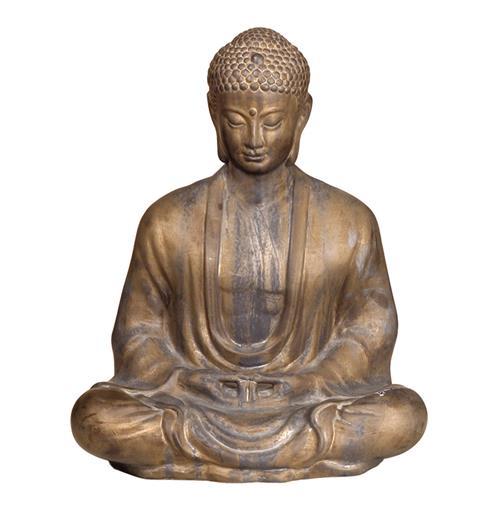 Antique Bronze Ceramic Meditating Buddha Lotus Seat