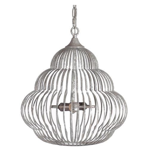 Antique Silver Beehive Iron Frame 2 Light Birdcage Pendant | Kathy Kuo Home