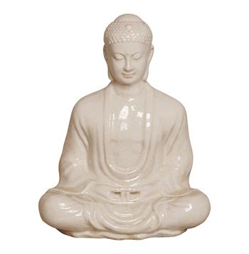 "Antique White Ceramic Meditating Buddha Lotus Seat Sculpture- 30""H"