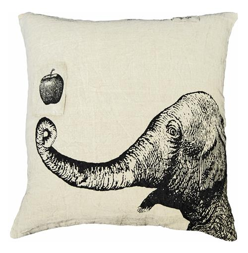 Apple Elephant Hand Printed Linen Down Throw Pillow