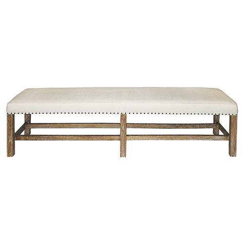 Aquitaine Grey Wash Wood French Country Bench Kathy Kuo Home