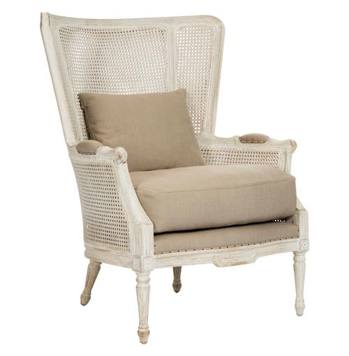 Archdale French Style Caned Back Antique White Wing Salon Chair | Kathy Kuo Home