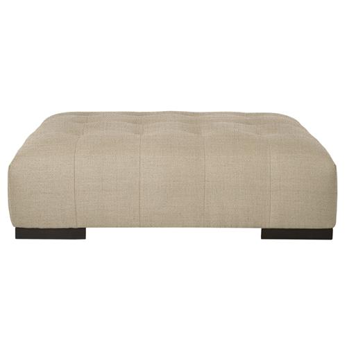 Arden modern classic tufted beige linen rectangle coffee table ottoman Linen ottoman coffee table