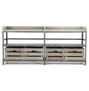 Ardsley Industrial Loft Gray Metal Bakers Rack Sideboard