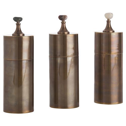 Arteriors Belfort Brass Bazaar Stone Decorative Boxes