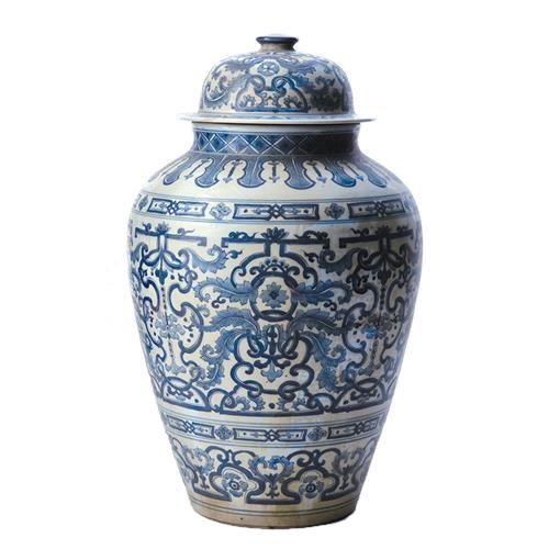 Asian Lotus Covered Blue White Hand Painted Temple Jar - B