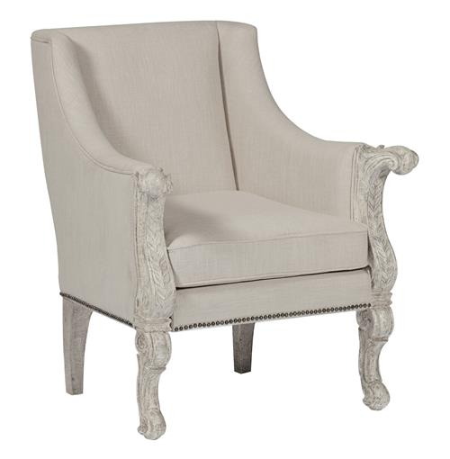 Augusta Cream Linen French Country Carved Wood Occasional Arm Chair