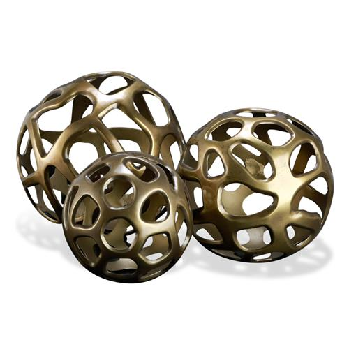Ava Sculptural Modern Rustic Metal Sphere Sculptures- Set of 3 | Kathy Kuo Home