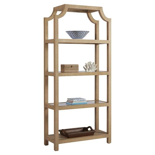 Barclay Butera Beachcomber Modern 4 Shelve Open Back Natural Raffia Bookcase