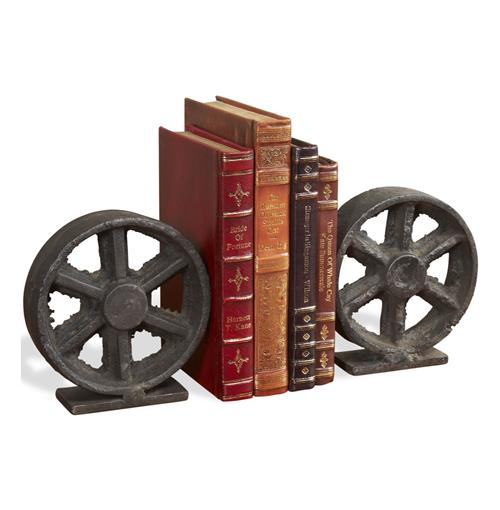 Barco Industrial Iron Rustic Wheel Bookends | Kathy Kuo Home