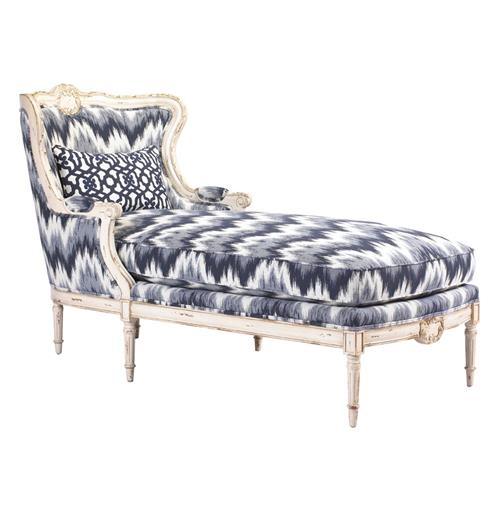 bayonne french country blue white zig zag upholstered chaise lounge kathy kuo home. Black Bedroom Furniture Sets. Home Design Ideas