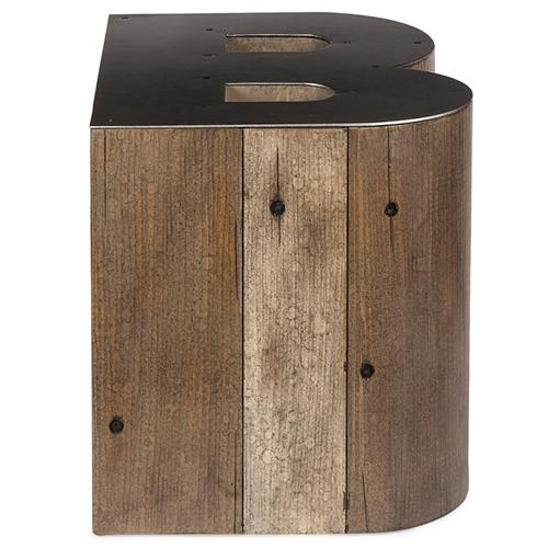 Bea Industrial Loft Alphabet Letter B Wood Side Table