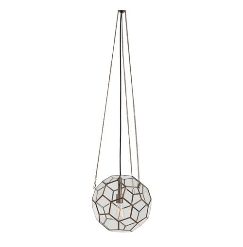 Beck Brass Glass Faceted Geometric Modern Vintage Pendant Light | Kathy Kuo Home