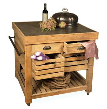 Belaney Rustic Lodge Pine Wood Stone Small Kitchen Island