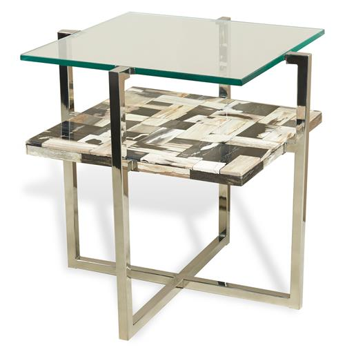 Bellaver Hollywood Regency Wood Mosaic Glass Side Table