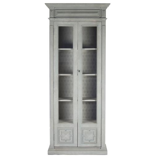 Bernard Masculine Regency Style Antique Grey Distressed Tall Cabinet