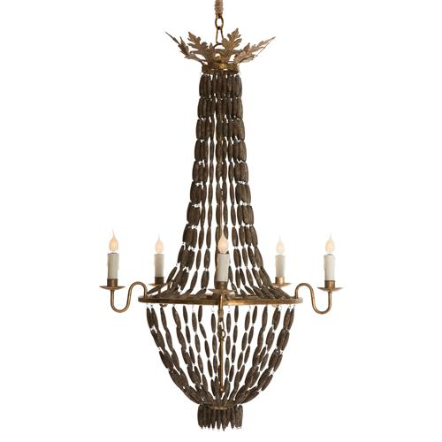 Bilzen Hollywood Beaded Wood Rustic Glamour 6 Light Chandelier