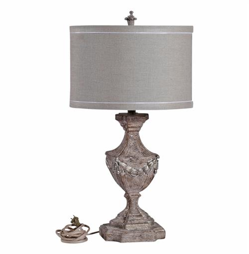 blair french country burlap shade rustic pebbled white table lamp. Black Bedroom Furniture Sets. Home Design Ideas