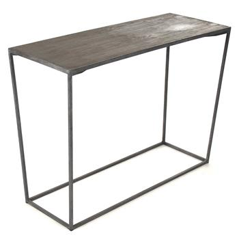 Bleecker Modern Rustic Industrial Gray Steel Reclaimed Oak Console Table